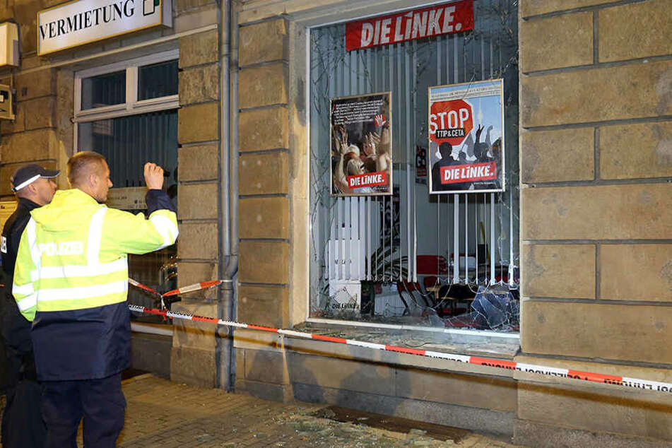 Anschlag auf ein Büro der Linken in Freital bei Dresden.
