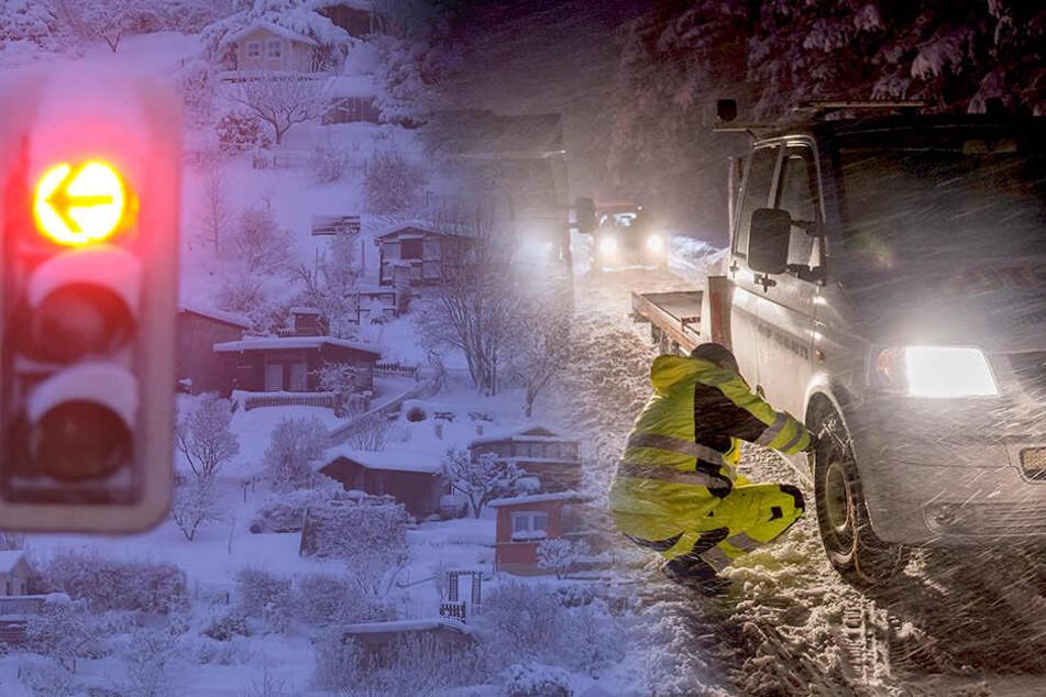 Noch immer Schnee-Chaos in Sachsen: Schneebruch und Zugverkehr unterbrochen
