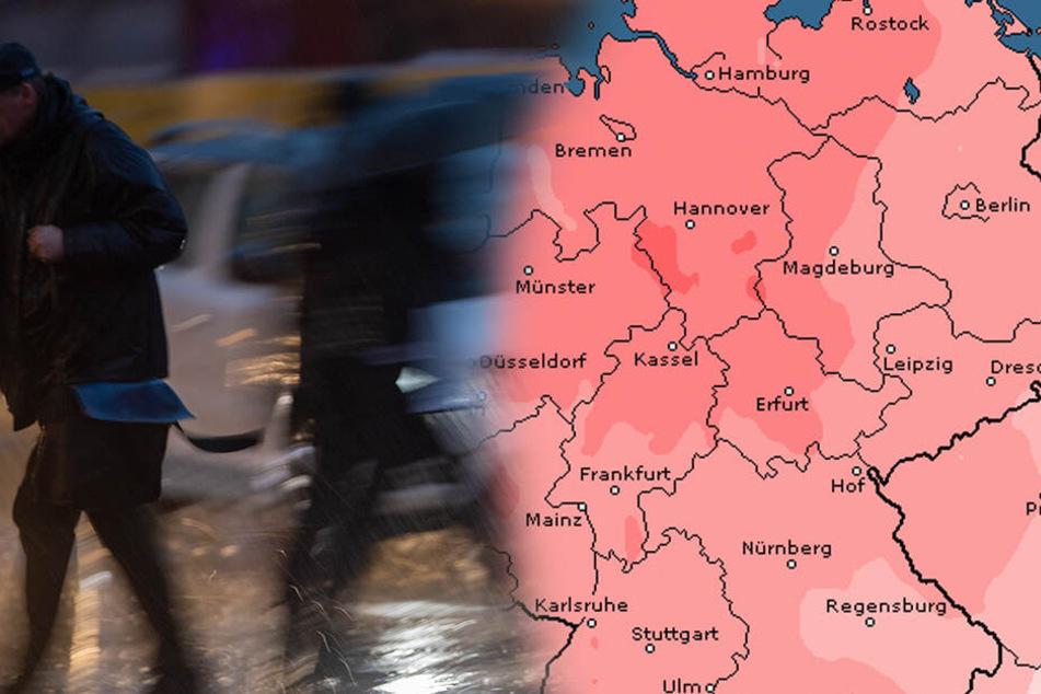 Der Deutsche Wetterdienst warnt am Mittwoch vor Sturm und Orkanböen in ganz Deutschland.