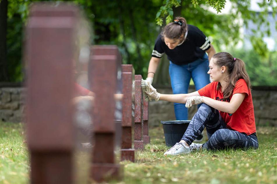 Auch Grabsteine putzen steht auf dem Plan der Jugendlichen.