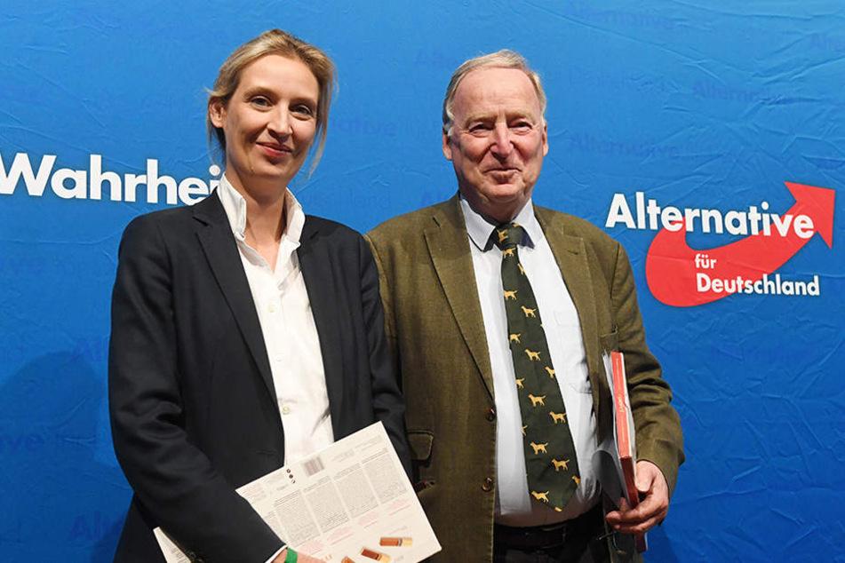 Gauland (r) und Weidel stehen beim Landesparteitag der AfD Baden-Württemberg in der Badnerlandhalle in Karlsruhe zusammen auf der Bühne.