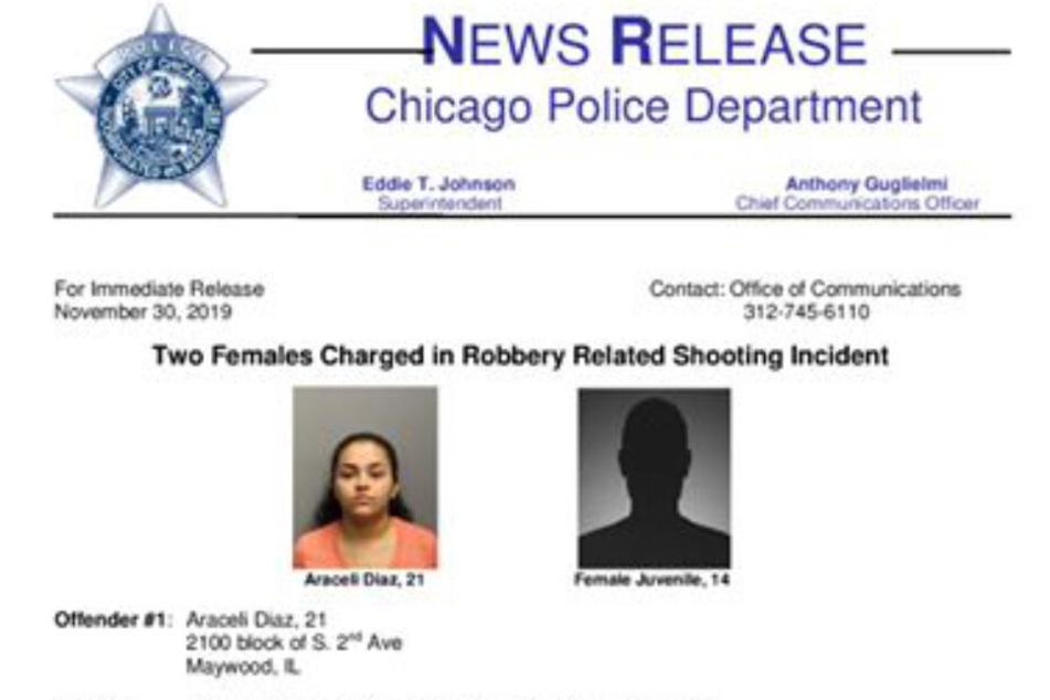 Araceli Diaz (21) und der Teenager (14) wurden beide festgenommen.