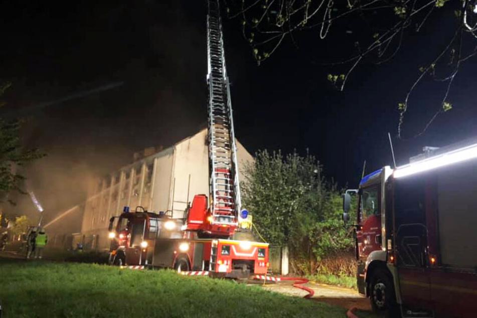 Großbrand in Lagerhalle, Feuerwehr kämpft bis zum Morgengrauen gegen Flammen