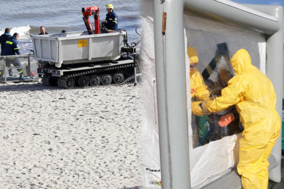 Was ist denn da los? Menschen in Schutzanzügen am Ostsee-Strand