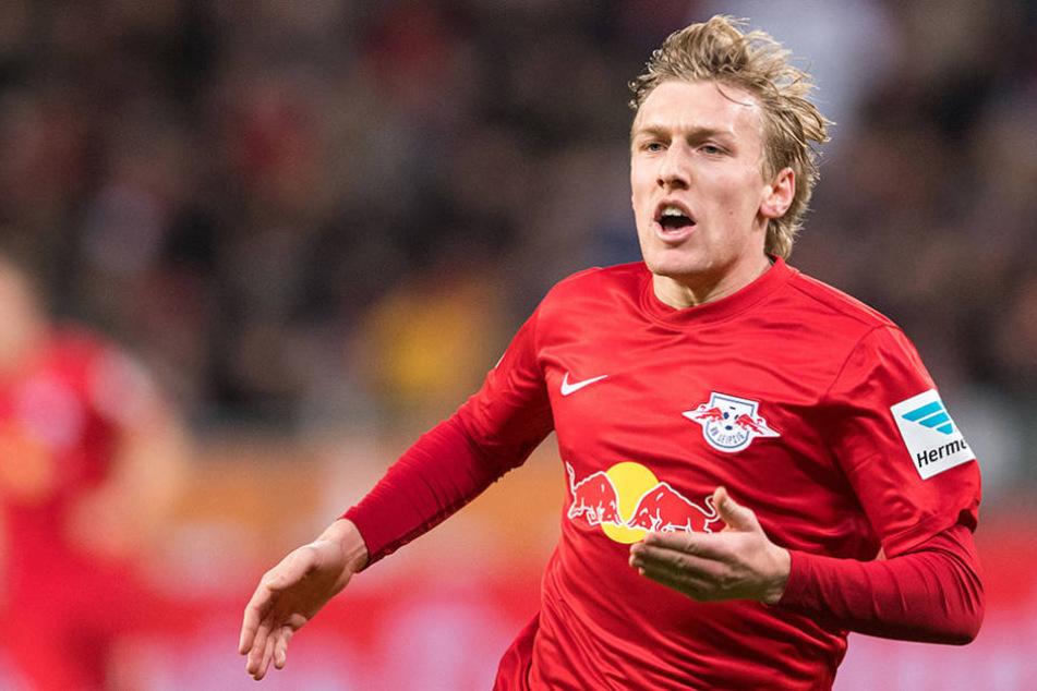 Emil Forsberg vom RB Leipzig jubelt über den Ausgleich zum 2:2.