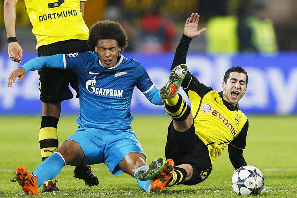 In der Champions League kreuzten sich 2014 die Wege von Axel Witsel (vorne-links) und Borussia Dortmund.