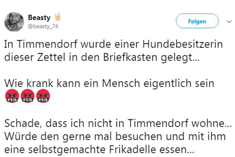 """Hier der Kommentar des Twitter-Users """"beasty_74"""", welcher die Botschaft auf Twitter hochlud. Auch er hat eine ganz spezielle Meinung zu der Androhung des Unbekannten."""