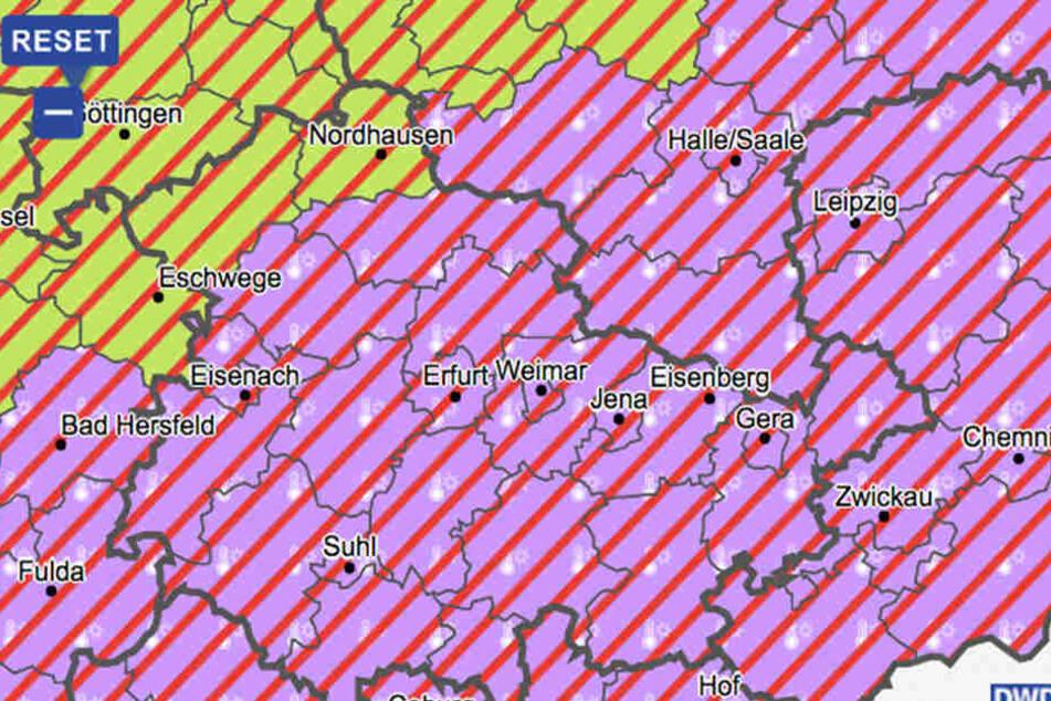 Für Thüringen gilt eine Warnung vor schweren Gewittern.