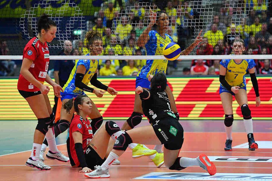 Das Hauptrunden-Hinspiel gegen Schwerin verlor der DSC in eigener Halle mit 1:3. Hier sind (v.l.) Katharina Schwabe, Sasa Planinsec und Amanda Benson geschlagen.