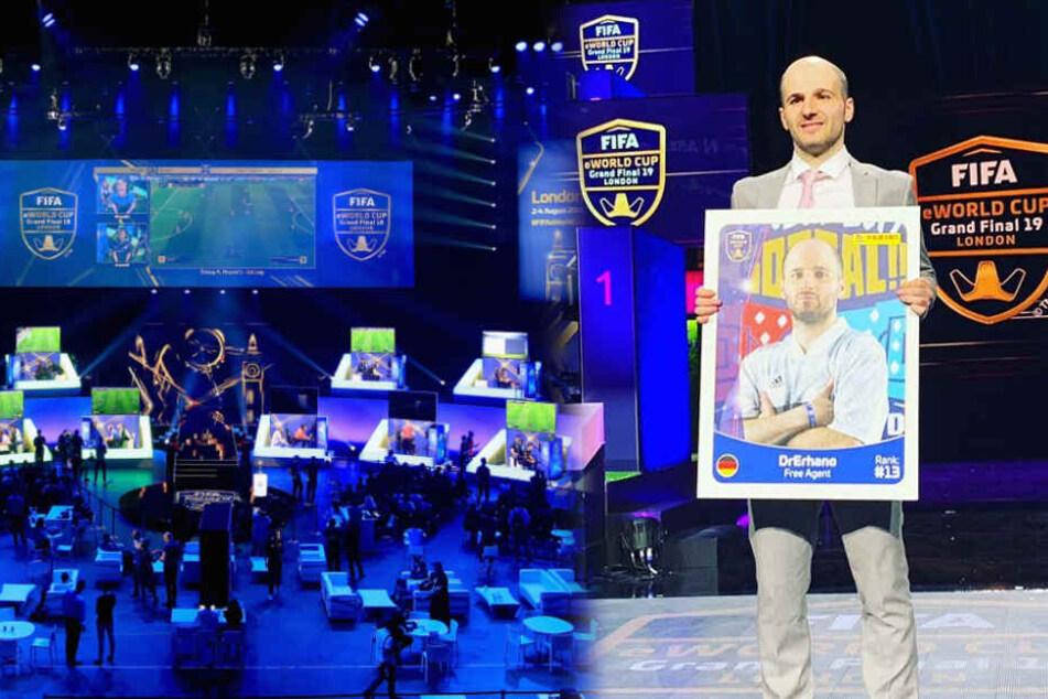 """Erhan """"Dr. Erhano"""" Kayman bei der Spielervorstellung der Weltmeisterschaft in der O2-Arena in London. (Fotomontage)"""