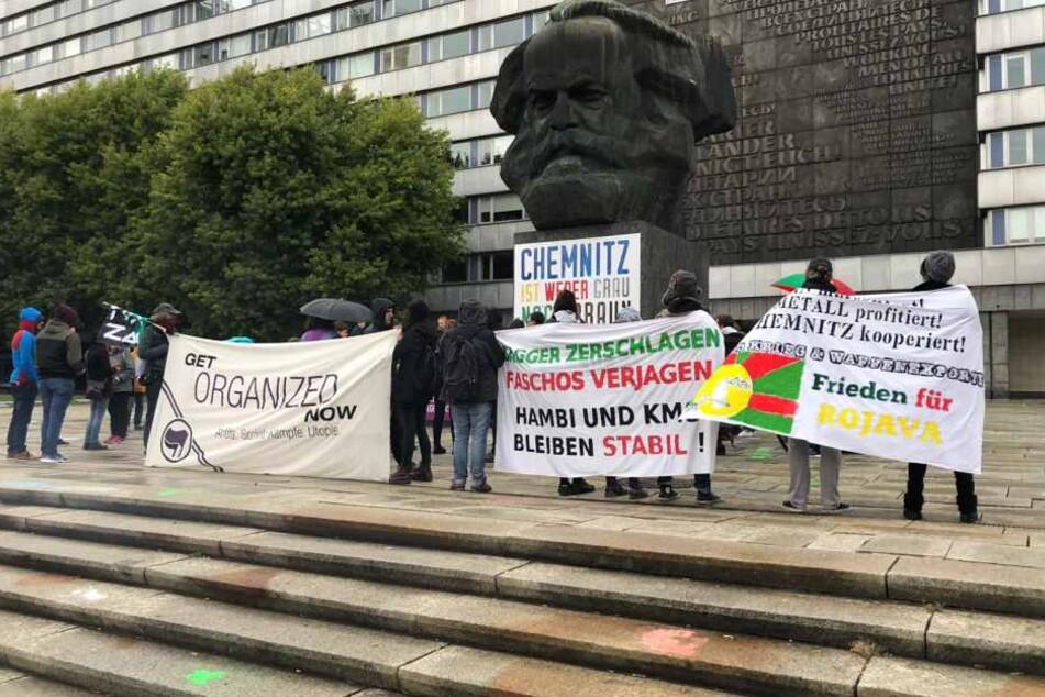 Spontane Demo gegen Rechtsterrorismus in Chemnitz