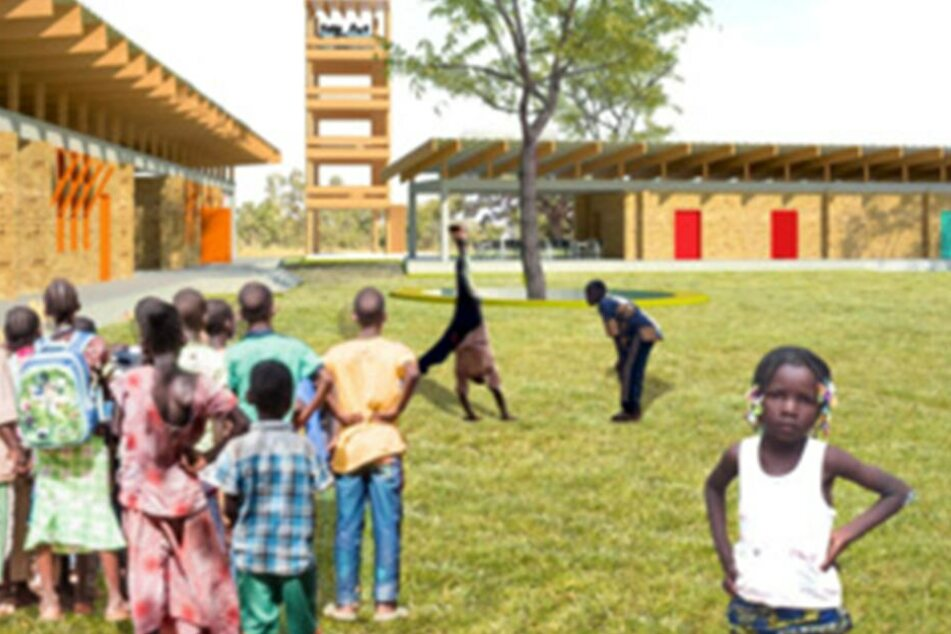 Eine Visualisierung zeigt, wie die Schule in einem Dorf nahe der burkinischen Hauptstadt Ouagadougou einmal aussehen soll.