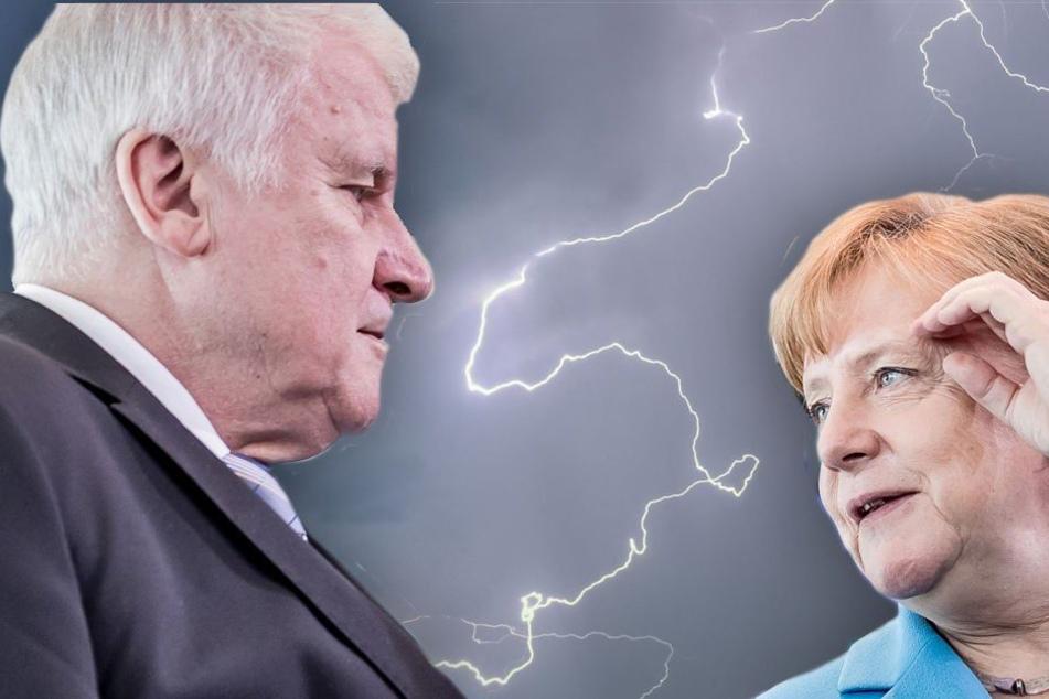 Der Streit zwischen Bundesinnenminister Seehofer (68, CSU) und Kanzlerin Merkel (63, CDU) reißt die Union in einer Umfrage in den Abgrund. (Bildmontage)