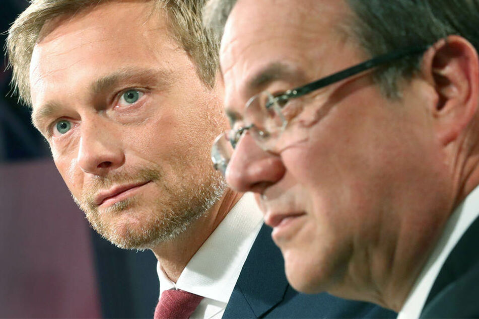 Christian Lindner (li.) ist der Meinung, dass seine FDP viele Gemeinsamkeiten mit Armin Laschets (re.) CDU hat.