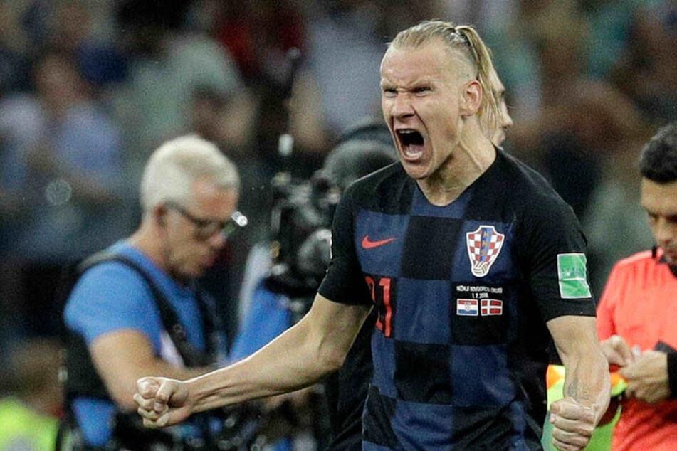 Kroatiens Verteidiger Domagoj Vida schreit seine Freude raus.