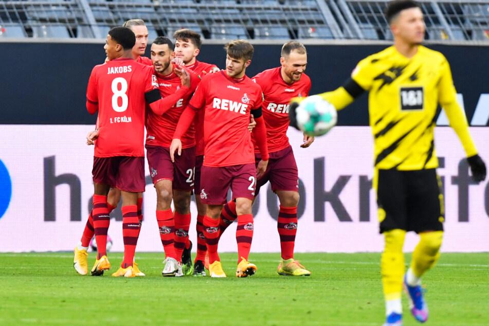 Ellyes Skhiri (3.v.l.) traf doppelt für Köln, jeweils nach Vorlage von BVB-Leihgabe Marius Wolf (2.v.l.).