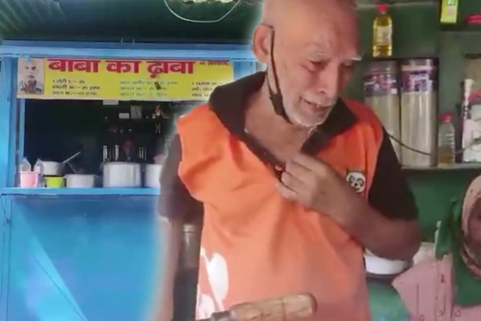 Every day Kanta Prasad sells food at his small shop.