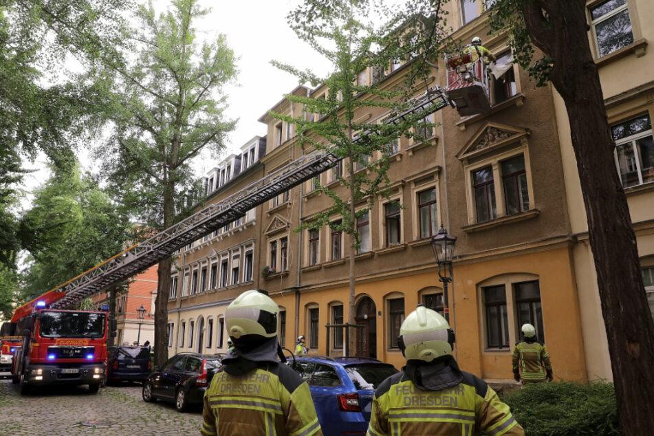 Die Feuerwehr vor Ort in Pieschen.
