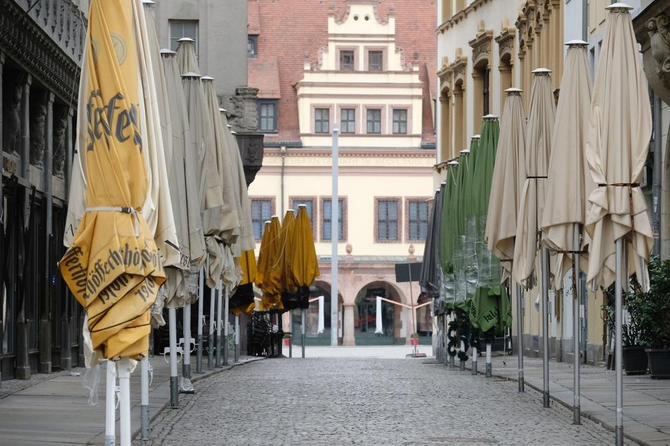 Das Barfußgäßchen mit seinen Restaurants und Kneipen in der Leipziger Innenstadt bleibt vermutlich noch eine Weile geschlossen.