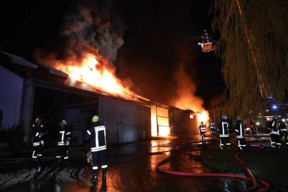 In Diehmen stand eine Gebäude in Flammen.