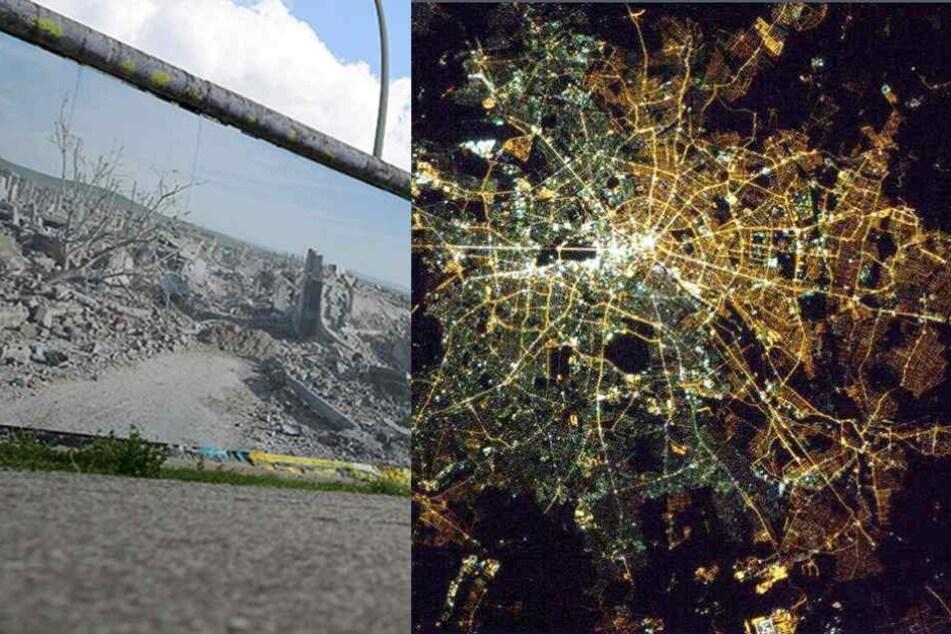 Von oben ist Berlin noch eine geteilte Stadt