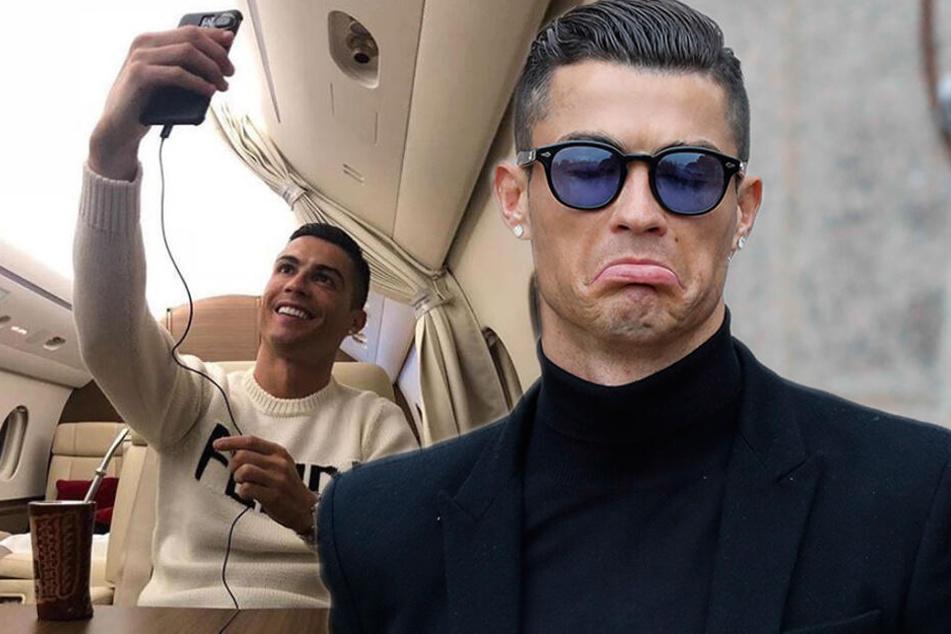 Flugzeug mit Fußballstar an Bord verschollen: Ronaldo postet Grinse-Foto aus Privatjet!