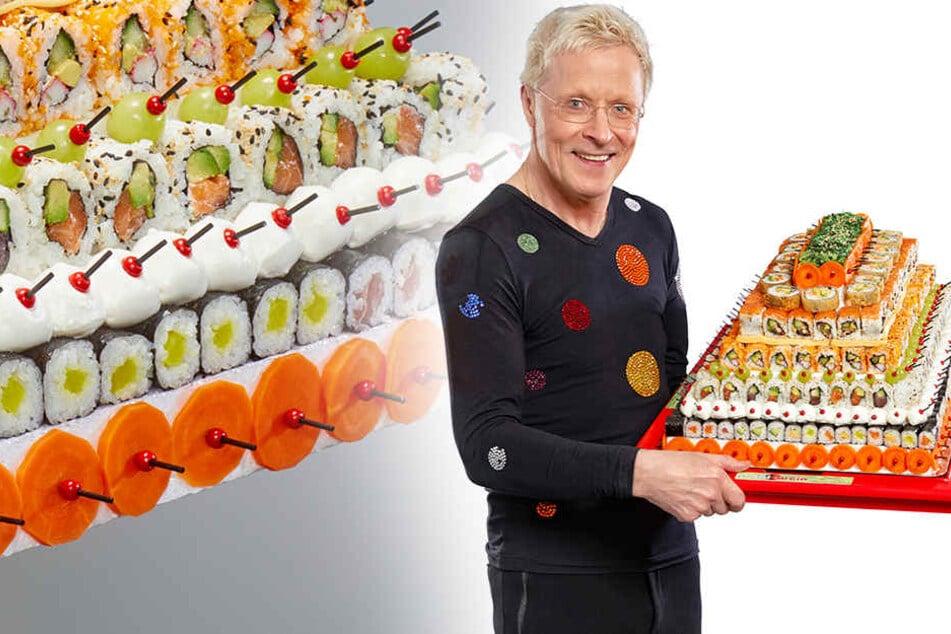 Mit Fischröllchen und Algensalat: Wolle bastelt jetzt Sushi-Torten