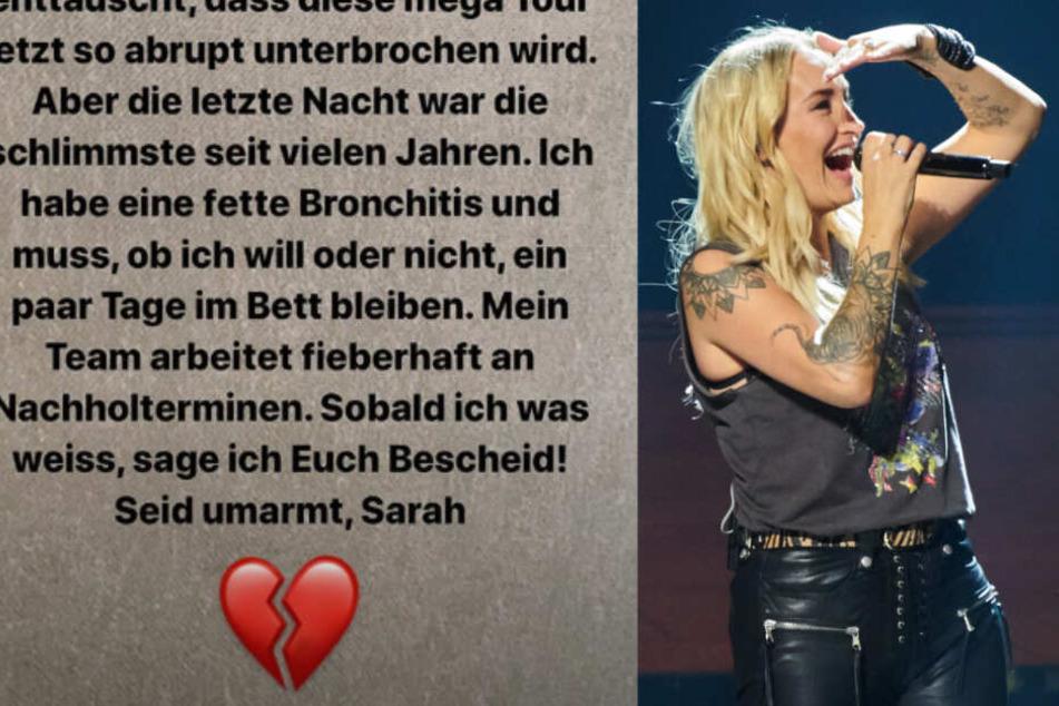 Sarah Connor teilte in einer Instagram-Story mit, dass sie die Konzerte in Mannheim und Zürich aufgrund einer Bronchitis ebenfalls absagen muss. (Fotomontage)