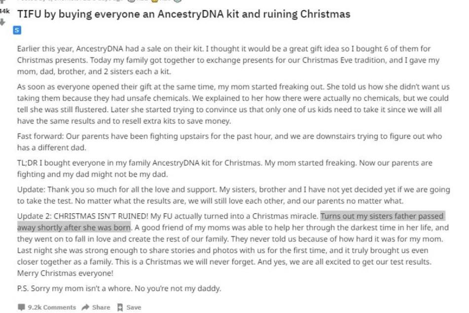"""Auf der Online-Plattform """"Reddit"""" erzählte der anonyme Nutzer von seinem Erlebnis zu Weihnachten."""