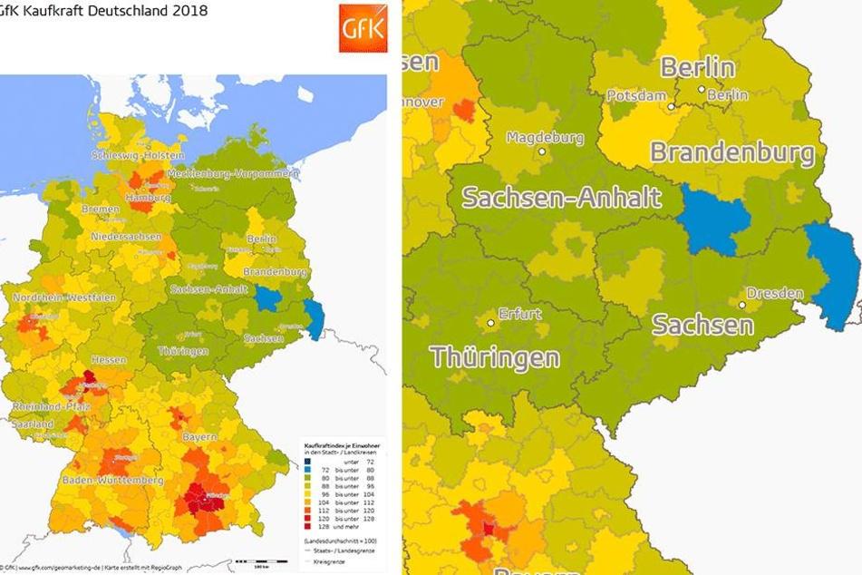 So ungleich verteilt ist die Kaufkraft in Deutschland. Der Landkreis Görlitz liegt einmal mehr auf dem letzten Platz. Sachsenweit die höchste Kaufkraft haben die Dresdner.