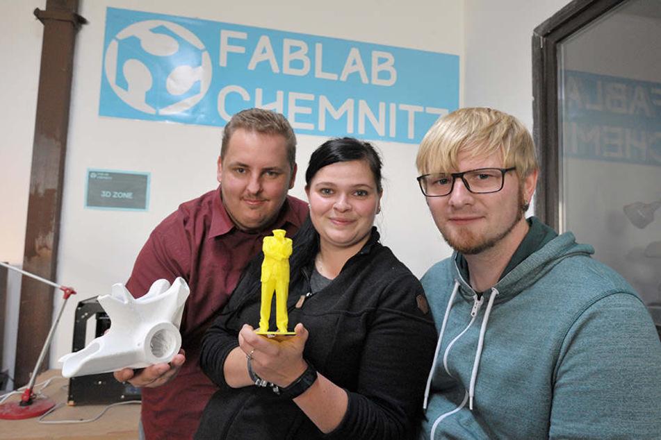 Stoßen in neue Dimensionen vor: Daniel Tauscher (31, l.), Saskia Leupold (31) und Mario Voigt.