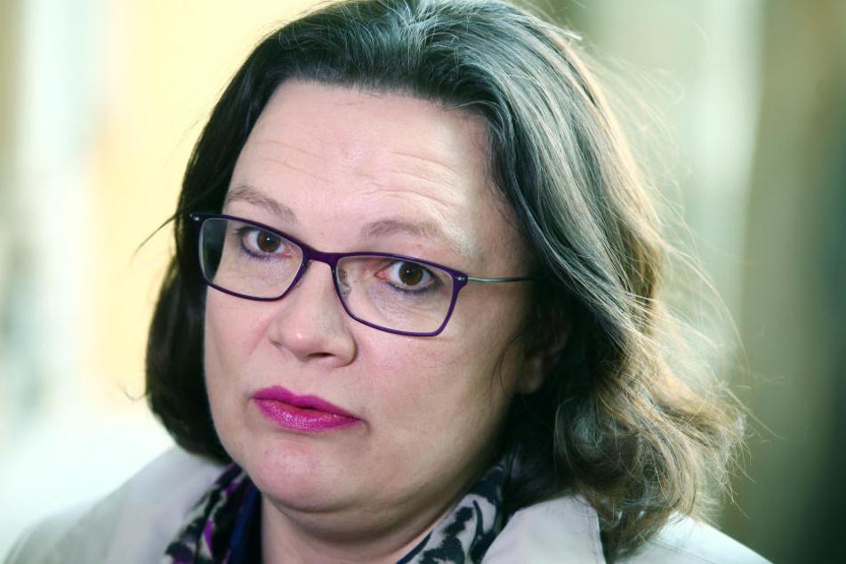 Die designierte SPD-Chefin Andrea Nahles hat bei die diesen Werten wenig zu lachen (Archivbild).