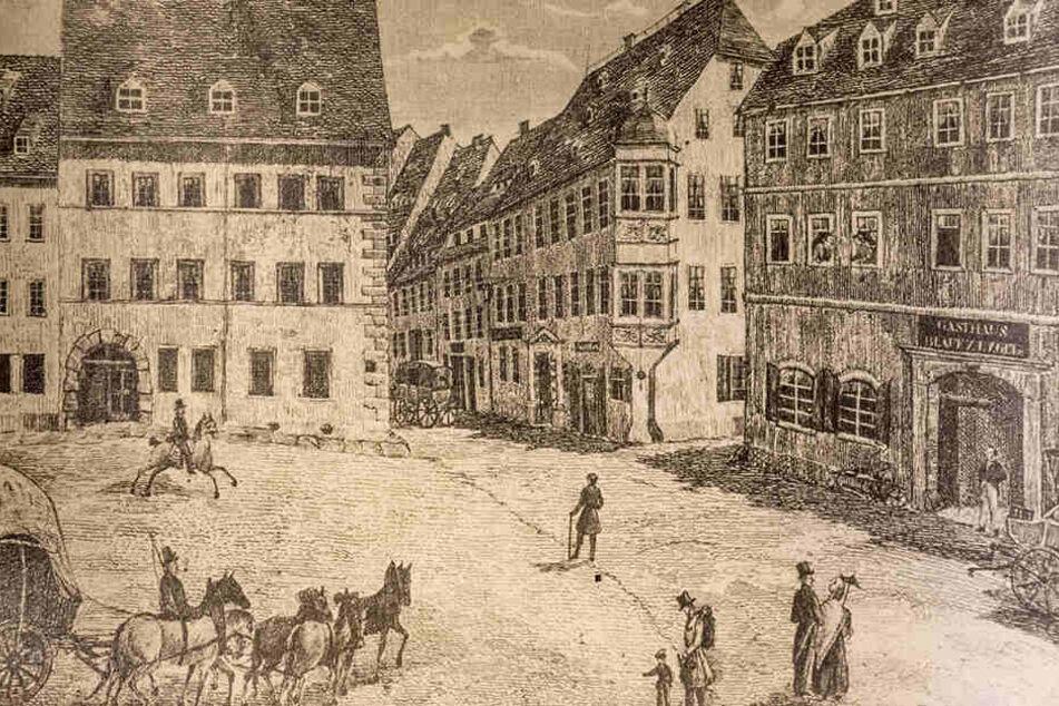 Alte Stadtansicht: Im Hotel Blauer Engel (r.) übernachtete Johann Wolfgang von Goethe im Jahr 1810.