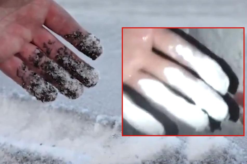 Dreckig statt weiß: In Sibirien wurde der schwarze Schnee mit weißer Farbe überpinselt.