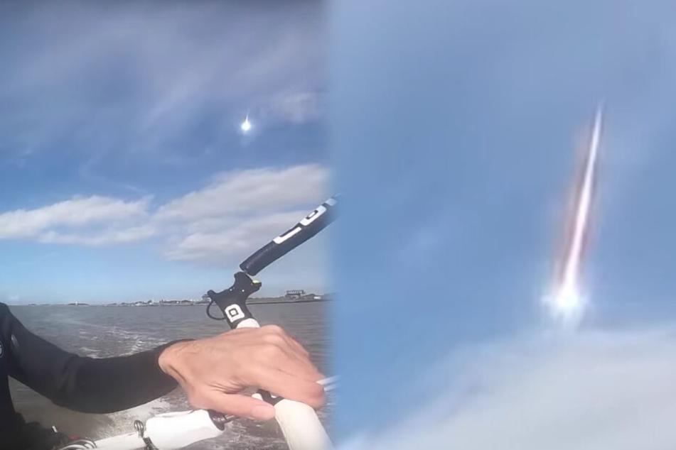Ein Kitesurfer filmte den verglühenden Asteroiden zufällig. (Fotomontage)