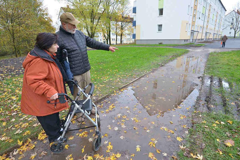 Die Anwohner Gisela Aumann (77) und Claus Modaleck (77) ärgern sich über den bei Regen unpassierbaren Fußweg.