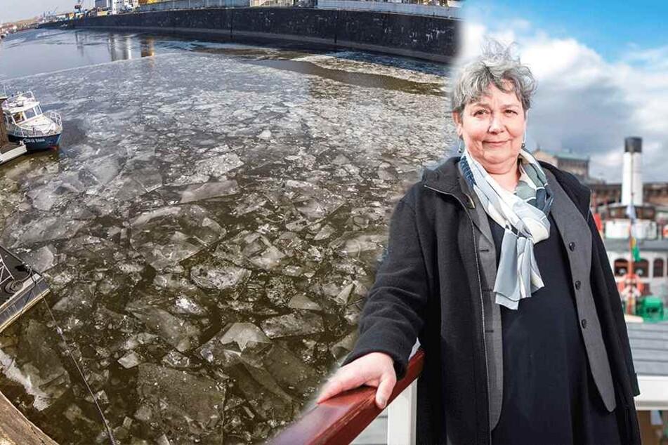 Gefährliches Treibeis auf der Elbe: Dauerfrost legt Schifffahrt lahm