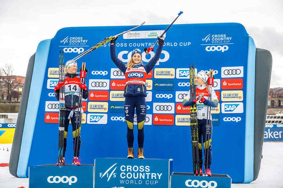 Dreifach-Erfolg für die Schwedinnen durch Stina Nilsson (M.), Maja Dahlqvist (l.) und Jonna Sundling.