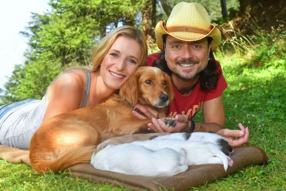 Bester Laune: Stefanie Hertel (38) und ihr Ehemann Lanny Lanner (43).