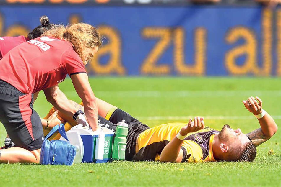 30. Juli, 23. Minute im Spiel gegen Duisburg: Pascal Testroet stieß mit MSV-Keeper Marc Flekken  zusammen - Totalschaden im Knie.