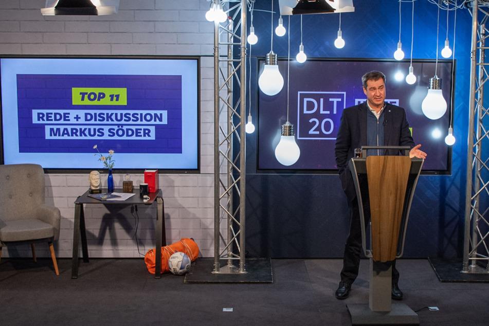 Markus Söder spricht beim digitalen Deutschlandtag der Jungen Union.