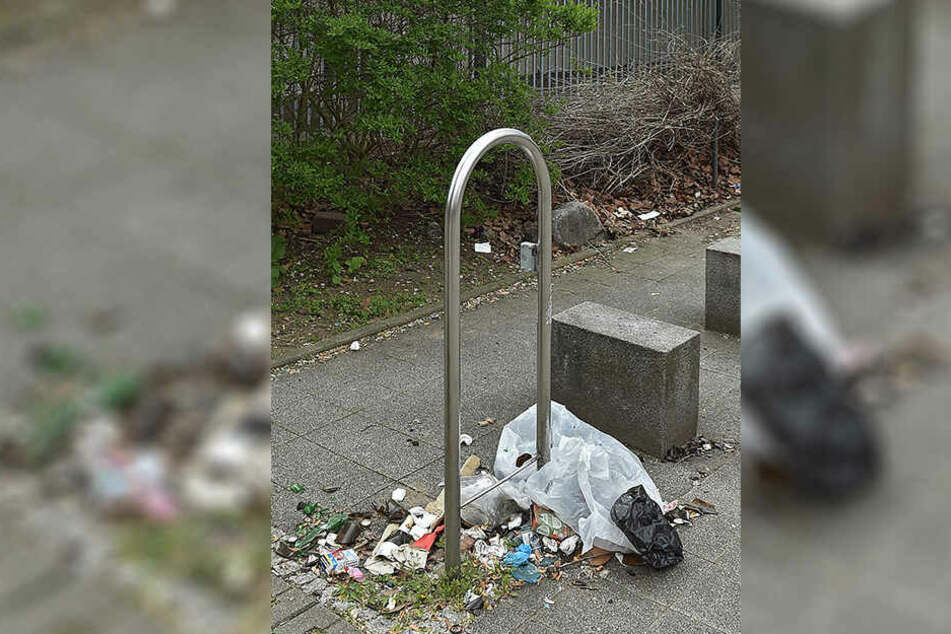 Einfach trostlos: Sitzbänke verschwunden, statt Abfalleimer verstreuter Müll.