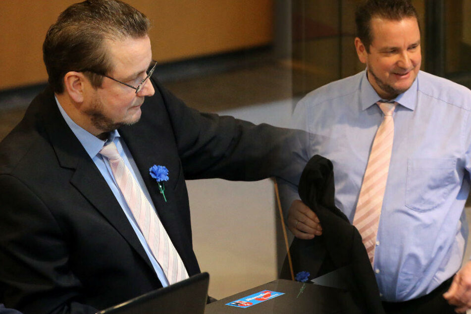 Mit einer blauen Kornblume erschien Andreas Wild im Berliner Abgeordnetenhaus. (Bildmontage)