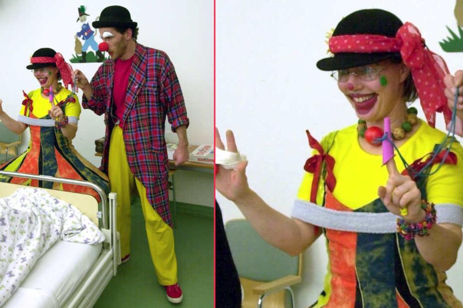 Die MediClowns muntern auf der Kinderstation der Uniklinik kleine Patienten auf.