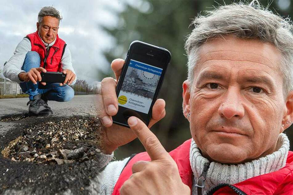 Lutz Neubert (47) sammelte in knapp zwei Jahren rund 2000 Schlaglöcher.