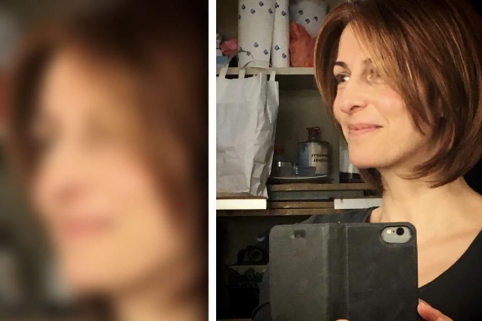 """Ulrike Frank mit ihrer """"neuen Frisur"""". Sie trägt eine Perücke."""