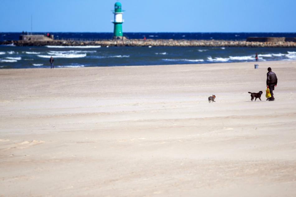 Mecklenburg-Vorpommern, Rostock: Trotz Sonnenschein sind nur wenige Spaziergänger am Ostseestrand unterwegs.
