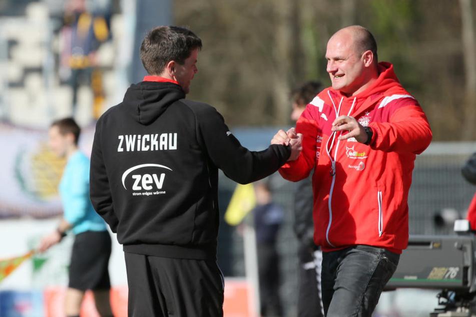 Glückwunsch zu einer tollen Saison: FSV-Sportdirektor David Wagner (r.) und Trainer Torsten Ziegner haben alles richtig gemacht. Das wird am Samstag gefeiert.