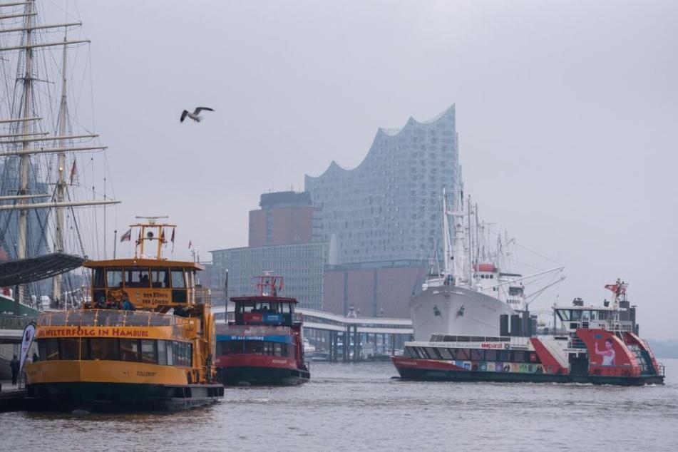Fähren fahren bei trübem Wetter im Hafen auf der Elbe.