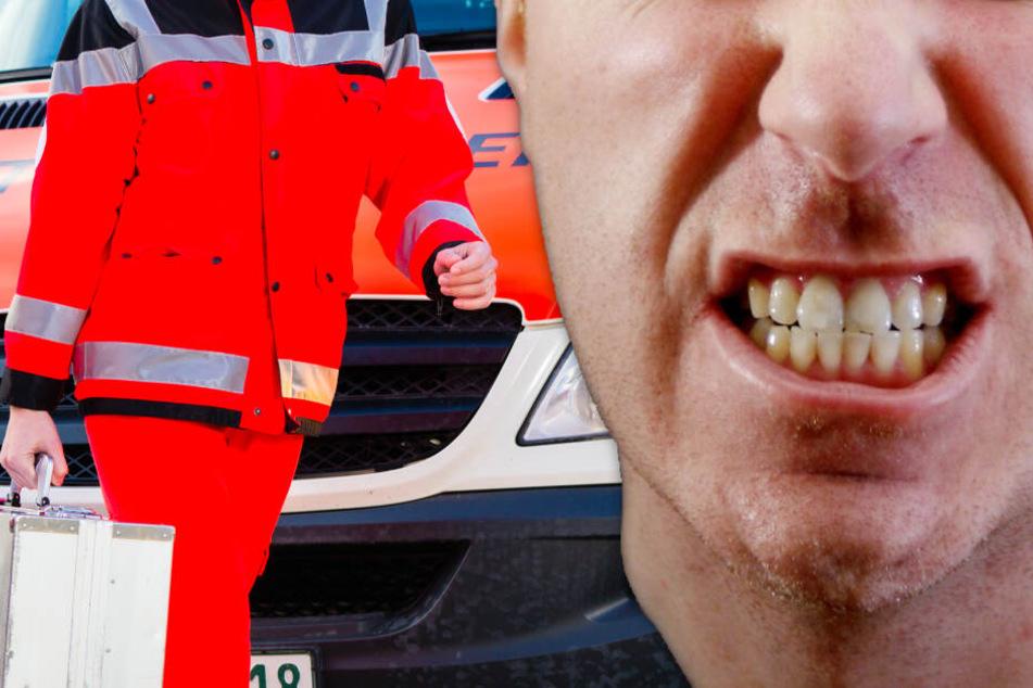 Mann zerlegt seinen Wagen auf der A5: Als Sanitäterin ihm helfen will, beißt er zu
